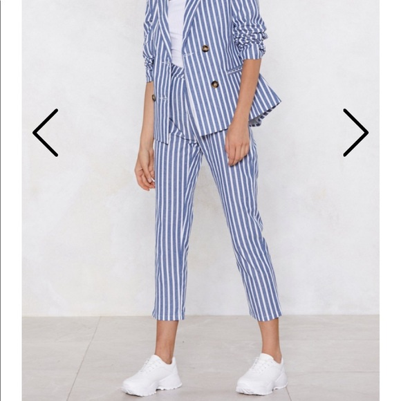 Nasty Gal Pants - Striped blue and white pants
